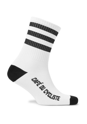Cafe du Cycliste - Striped Cycling Socks - White