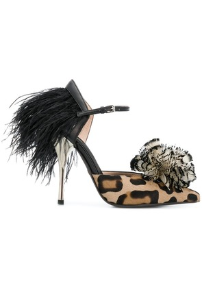 Giambattista Valli leopard print feather pumps - Brown