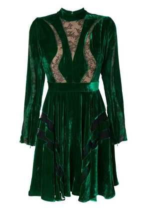 Elie Saab cut out lace skater dress - Green