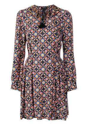 A.P.C. patterned long-sleeved dress - Blue