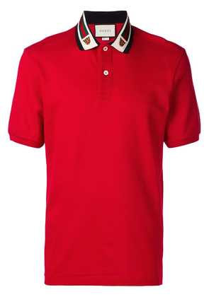 Gucci Web and feline head polo shirt - Red