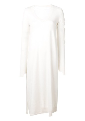 Barrie flared V-neck dress - White