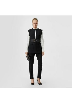 Burberry Straight Fit Wool Tailored Trousers, Black