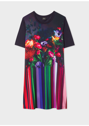 Women's Dark Navy 'Floral Stripe' Photo Print Jersey Dress