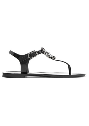 Dolce & Gabbana - Crystal-embellished Rubber And Patent-leather Sandals - Black