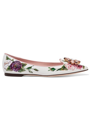 Dolce & Gabbana - Embellished Floral-print Patent-leather Point-toe Flats - White