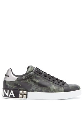 Dolce & Gabbana - Camouflage Print Low Top Leather Trainers - Mens - Green Multi