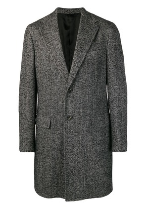 Barba single breasted midi coat - Black