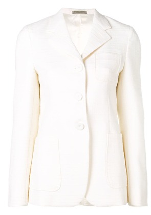 Bottega Veneta tweed single-breasted blazer - White