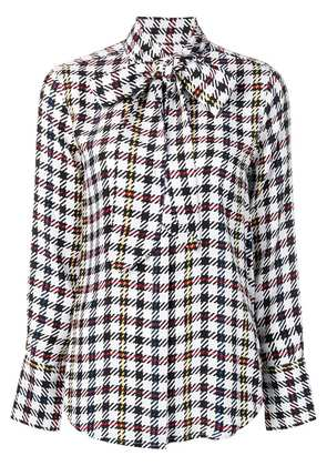 Equipment check patterned bow detail shirt - White