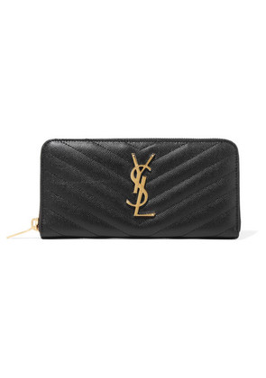 Saint Laurent - Zip Around Quilted Textured-leather Wallet - Black