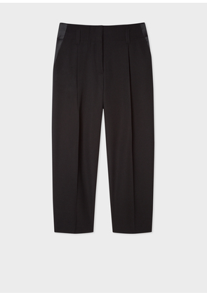 Women's Black Pleated Tuxedo Trousers With Satin Details