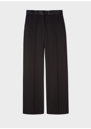 Women's Black Parallel Leg Tuxedo Wool Trousers With Satin Details