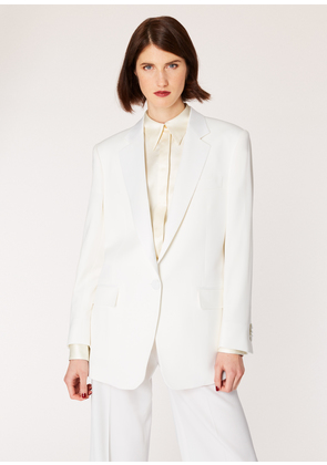 Women's Ivory One-Button Wool Boyfriend-Fit Tuxedo Blazer