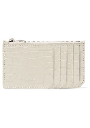 Saint Laurent - Croc-effect Patent-leather Cardholder - Cream
