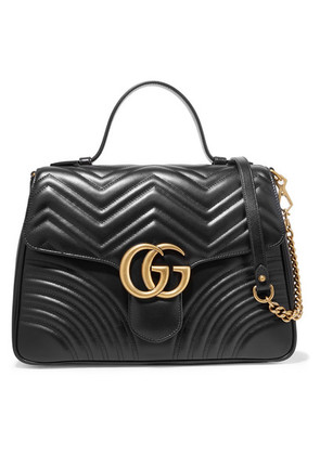 Gucci - Gg Marmont Medium Quilted Leather Shoulder Bag - Black