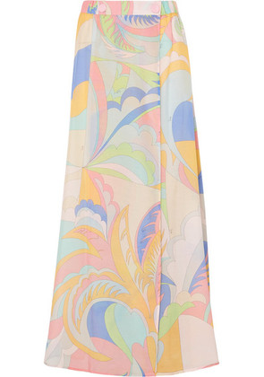 Emilio Pucci - Printed Cotton And Silk-blend Voile Maxi Skirt - Pastel yellow