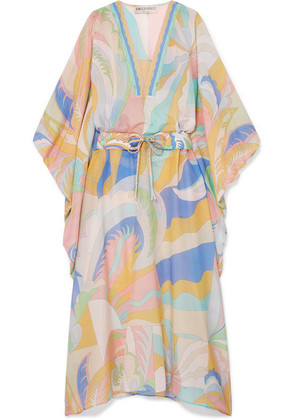 Emilio Pucci - Printed Cotton And Silk-blend Voile Kaftan - Pastel yellow