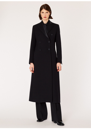 Women's Black Long Double-Breasted Wool Opera Coat With Satin Lapel