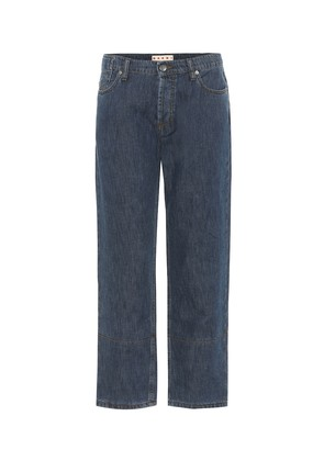 Cuffed cotton and linen jeans