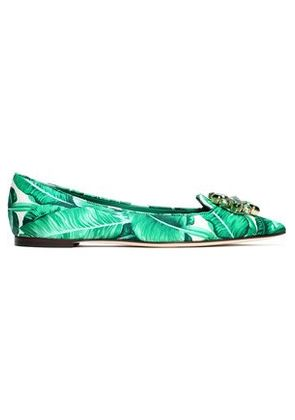 Dolce & Gabbana Woman Bellucci Crystal-embellished Printed Satin Point-toe Flats Green Size 37.5