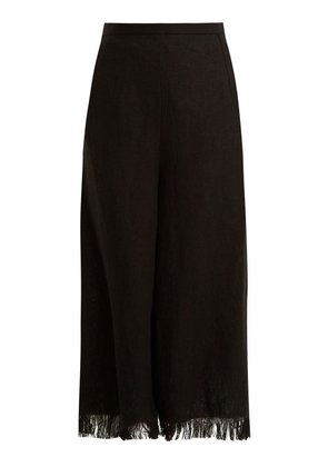 Andrew Gn - Wide Leg Frayed Cuff Linen Cropped Trousers - Womens - Black