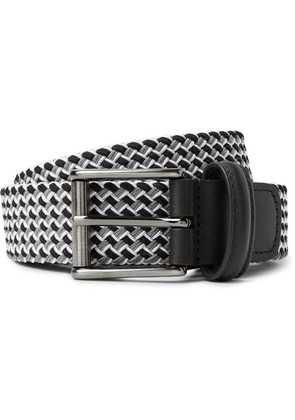 Anderson's - 3.5cm Leather-trimmed Woven Elastic Belt - Gray