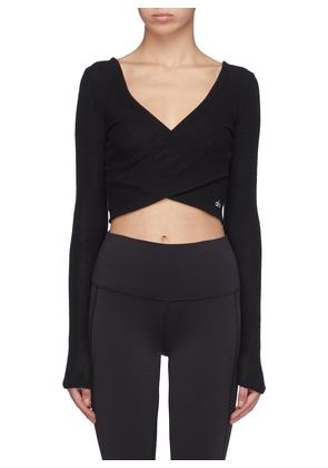 'Amelia Luxe' reversible cross front cropped knit top