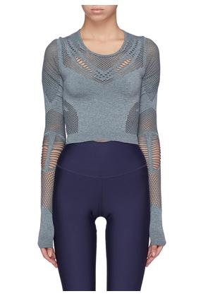 'Siren' perforated cropped performance long sleeve top