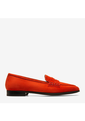 Bally Romika Red, Women's kid suede penny loafers in papavero