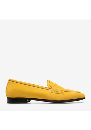 Bally Romika Orange, Women's kid suede penny loafers in gold sand