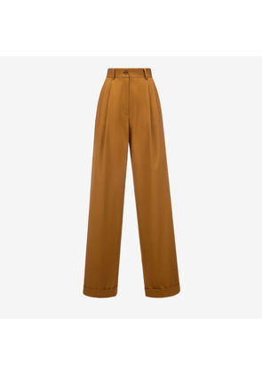 Bally High Waisted Trousers Brown, Women's cotton gabardine trousers in miele