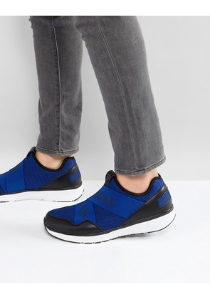 Armani Jeans Crossover Logo Knitted Trainers in Blue - Blue