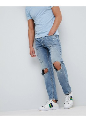 Jack & Jones Intelligence Jeans In Comfort Fit With Open Rip Details - Denim 053
