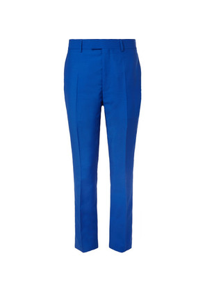 CALVIN KLEIN 205W39NYC - Slim-fit Stripe-trimmed Mohair And Wool-blend Trousers - Blue