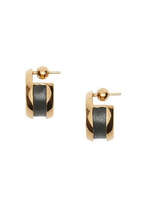 Burberry Leather Detail Grommet Earrings - Gold