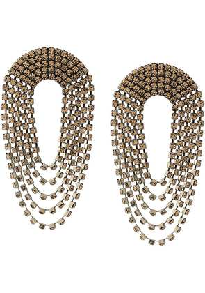 Alessandra Rich Crystal Drop Earrings - Neutrals