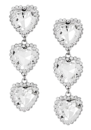 Alessandra Rich crystal triple heart earrings - Metallic
