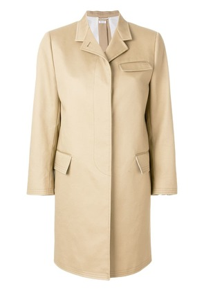 Thom Browne Vent Back Mackintosh Chesterfield Overcoat - Neutrals