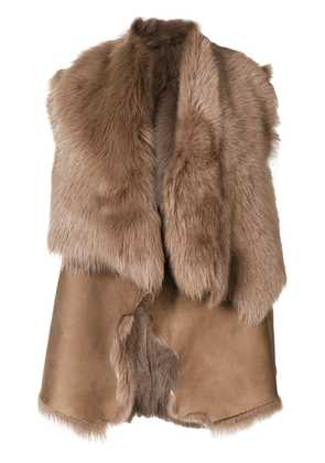 Desa 1972 shearling draped gilet - Brown