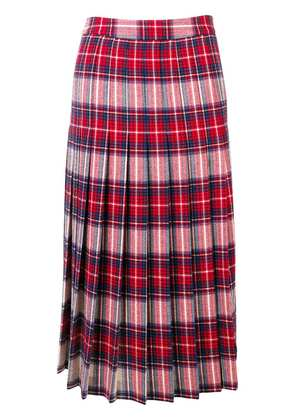 Boutique Moschino pleated tartan skirt - Red