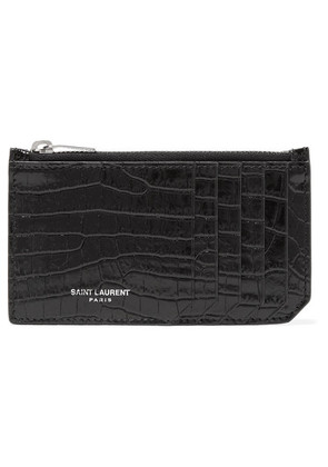 Saint Laurent - Croc-effect Patent-leather Cardholder - Black