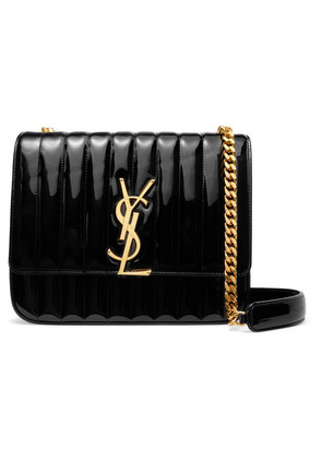 Saint Laurent - Vicky Large Quilted Patent-leather Shoulder Bag - Black