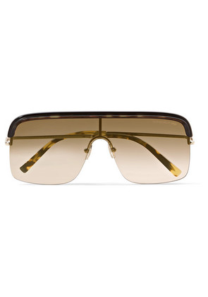 Cutler and Gross - D-frame Gold-tone And Acetate Sunglasses - Brown