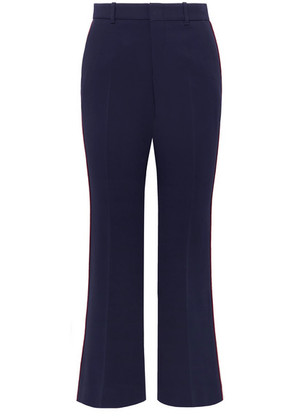 Gucci - Grosgrain-trimmed Cady Wide-leg Pants - Navy