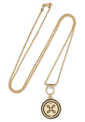 Foundrae - True Love 18-karat Gold, Diamond And Enamel Necklace - one size