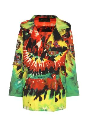 Embroidered printed cotton jacket
