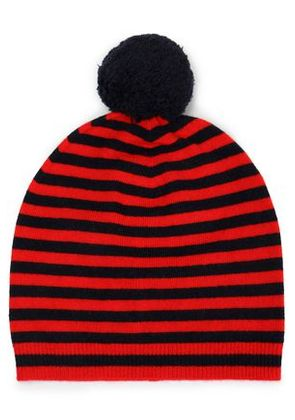 Chinti And Parker Woman Pompom-embellished Striped Wool And Cashmere-blend  Beanie Red Size 60e409b9147