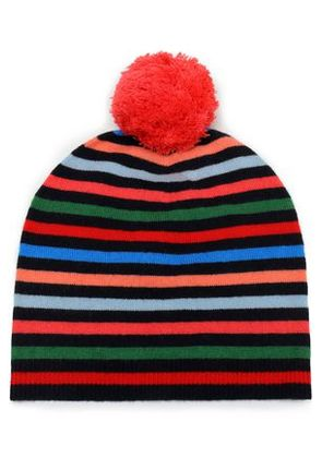 Chinti And Parker Woman Pompom-embellished Striped Wool And Cashmere-blend  Beanie Multicolor Size e98478d8a35