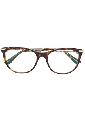 Bulgari tortoiseshell round glasses - Brown